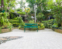 Green seat in park Royalty Free Stock Photos