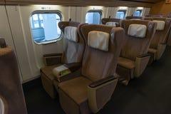 Green seats of E5 Series bullet(High-speed,Shinkansen) train. Royalty Free Stock Images