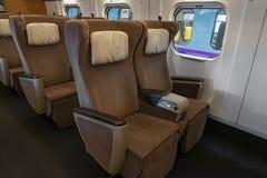 Green seats of E5 Series bullet(High-speed,Shinkansen) train. Stock Photos