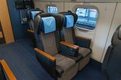 Green seats of E6 Series bullet(High-speed,Shinkansen) train. Royalty Free Stock Images