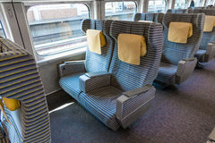 The Green seats of E2 Series bullet train (High-speed or Shinkan Stock Image