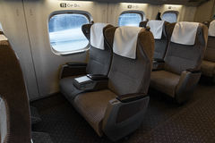 Green seats of The N700A Series bullet (High-speed) train. Royalty Free Stock Image