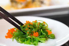 Green seaweed on white plate Stock Photo