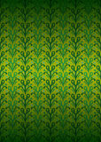 Green secession foliage pattern on yellow vector. Illustration Royalty Free Stock Image