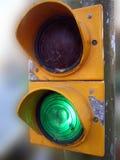 Green Semaphore. A green light allowing pass in an old pedestrian semaphore Stock Photography