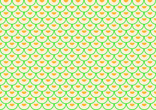 Green semi-arches filled with orange semi-circles offset placed Stock Photo