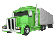 Green Semi Truck 18 Wheeler Big Rig Hauler Stock Image