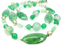 Green semiprecious beads necklace Stock Image