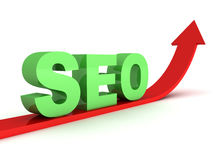 Green seo text on red grow up arrow. 3d Stock Image