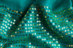 Green sequine background texture cloth Royalty Free Stock Image