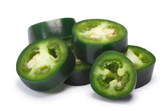 Green Serrano chile rings, paths Royalty Free Stock Images