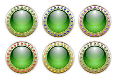 Green Set of 6 Color Combinations Glossy Buttons Royalty Free Stock Image