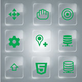 Green Set Icons Collection. Green Icons Set Vector In Glass For you web design Stock Photo