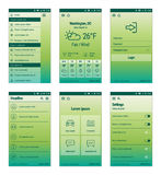 Green set of mobile user interface design. Royalty Free Stock Image