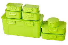 Green set of plastic food storage containers royalty free stock photo
