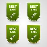 Green set of tags. Royalty Free Stock Images
