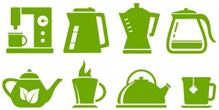 Green set teapot and cup Stock Photos