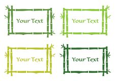 Green set of tropical frame with bamboo. Vector illustration royalty free illustration