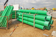Green sewer pipes Stock Photography