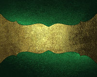Green shabby background with antique gold plate. Element for design. Template for design. copy space for ad brochure or announceme Royalty Free Stock Photography