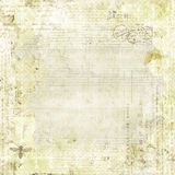 Green Shabby Chic Background with butterflies. Green Shabby Chic Vintage Scrapbook Background with bee. Lots of textured layers and soft shabby colors Royalty Free Stock Photography