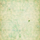 Green shabby chic vintage damask texture. Background paper - great for scrapbooking or design Stock Photo