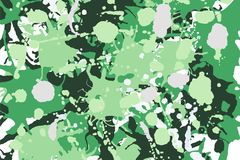 Green shades, white, beige camouflage background. Green shades, white, beige ink paint splashes camouflage vector colorful background royalty free illustration
