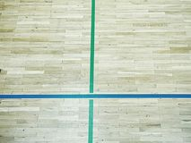 Green shadows of shining floor of sports hall with marking lines Royalty Free Stock Photos