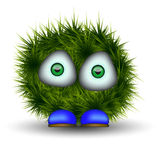 Green shaggy creature Stock Image