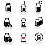 Green shake, green smoothie jar icons set Stock Image