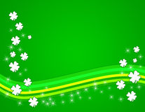 Green Shamrock Background. Gradient green background with white shamrocks and curved green lines and sparkles stock illustration