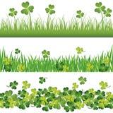 Green shamrock borders set for St. Patrick`s Day card. Green shamrock and grass borders set for St. Patrick`s Day card Stock Photography
