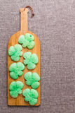 Green shamrock cookies for St Patrick's Day Stock Photos