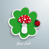 Green Shamrock Fly Agaric Good Luck Ladybug Stock Photo
