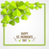 Green shamrock frame for St. Patrick`s Day card. Green shamrock frame paper for St. Patrick`s Day celebration card Royalty Free Stock Photos