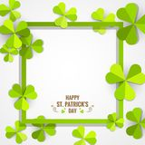Green shamrock frame for St. Patrick`s Day card. Green shamrock paper frame for St. Patrick`s  Day celebration card Stock Images
