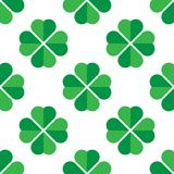Green shamrock seamless pattern. Background of fourleaf clovers. Simple flat vector illustration.  Vector Illustration