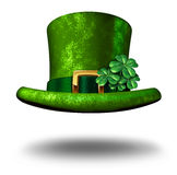 Green Shamrock Top Hat. Green shamrock lucky top hat as a St Patricks day symbol and luck icon of Irish tradition celebration with magical four leaf clover Royalty Free Stock Photo