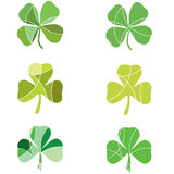 Green shamrocks. With segments in different shades of green Stock Image