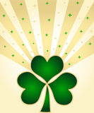 Green shamrocks. And stars with golden rays Stock Image