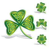Green shamrocks with celtic knots. By a decorative pattern.Vector illustration for Your design to the day of St. Patrick Stock Image