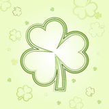 Green shamrocks over light background. Shamrocks - light flowers background with green clovers, spring card Royalty Free Stock Photo