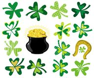 Green  shamrocks and  pot with golden coins. Vector illustration Stock Image