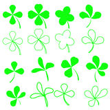 Green  Shamrocks. Set of Green Leaves Icons Isolated on White Background. Symbols of Patricks Day. Green  Shamrocks Stock Photo