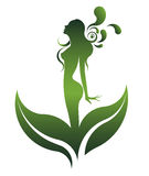 Green shape of beautiful woman icon cosmetic and spa, logo women on white background,  Royalty Free Stock Photos