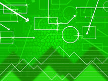 Green Shapes Background Shows Rectangular Oblong And Spikes Royalty Free Stock Images