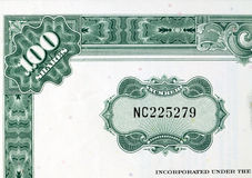 Green shares - stock certificate Royalty Free Stock Image