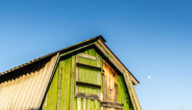 Green Shed and Moon Stock Images