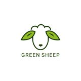 Green sheep. Logo design on a white background Royalty Free Stock Image