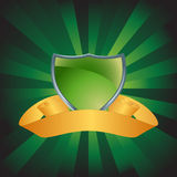 Green Shield with Background. Green shield with gold banner and star burst background Stock Images